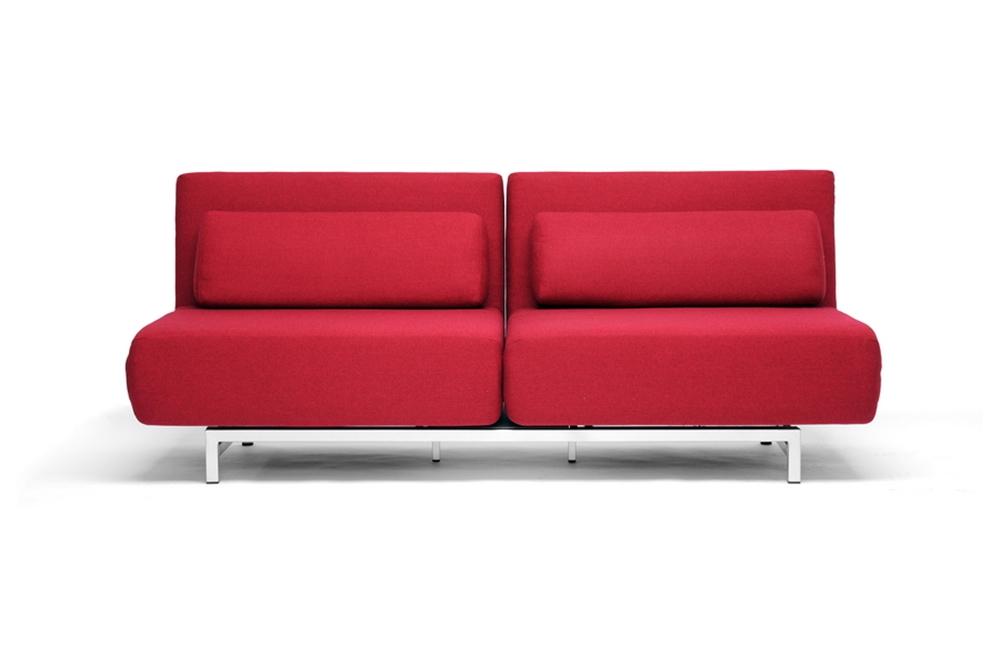 Red fabric 2 seat convertible sofa chair set lk06 2 d 06 for Sofa convertible 2 places
