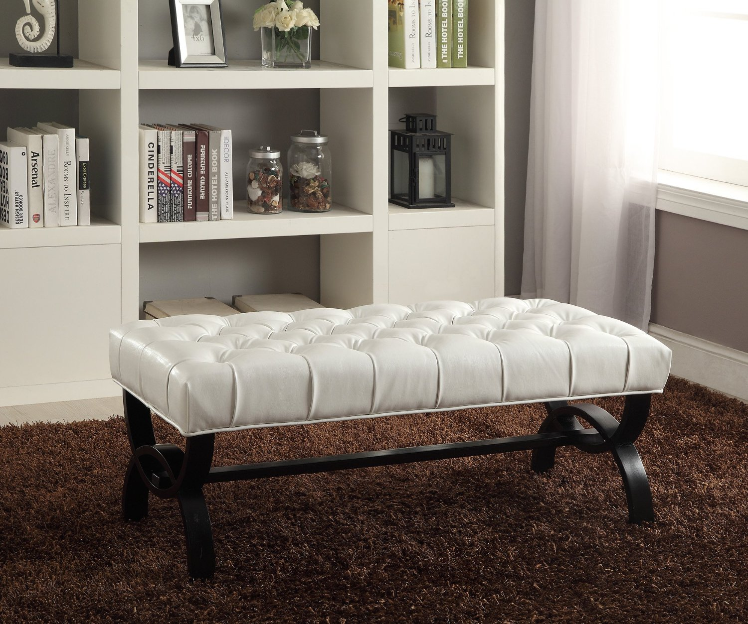 Baxton Studio Viviana Faux Leather Upholstered Tufted Bench White