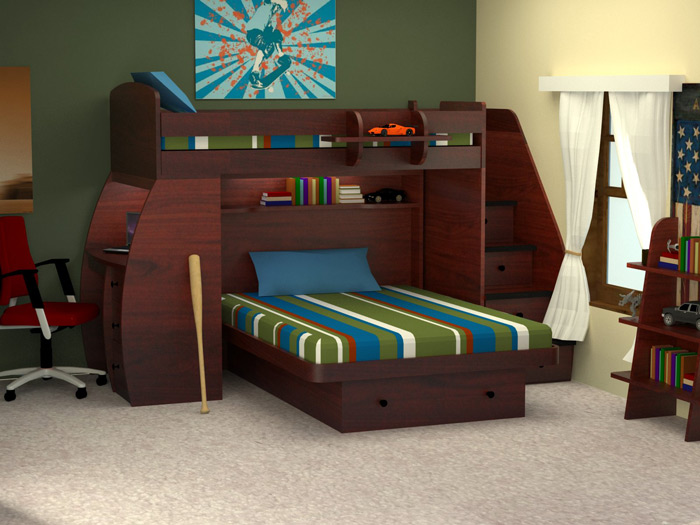 Home Berg Sierra Twin Over Full Space Saver Bunk Bed With