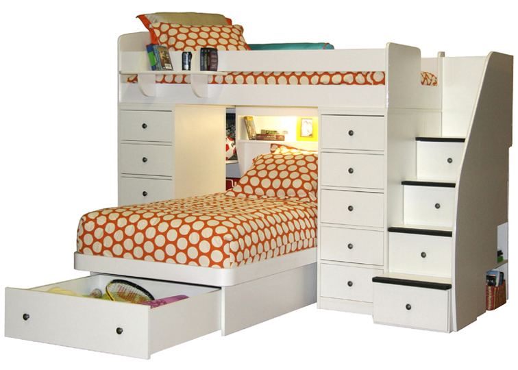 Berg Sierra Twin Over Twin Space Saver Bunk Bed With 2