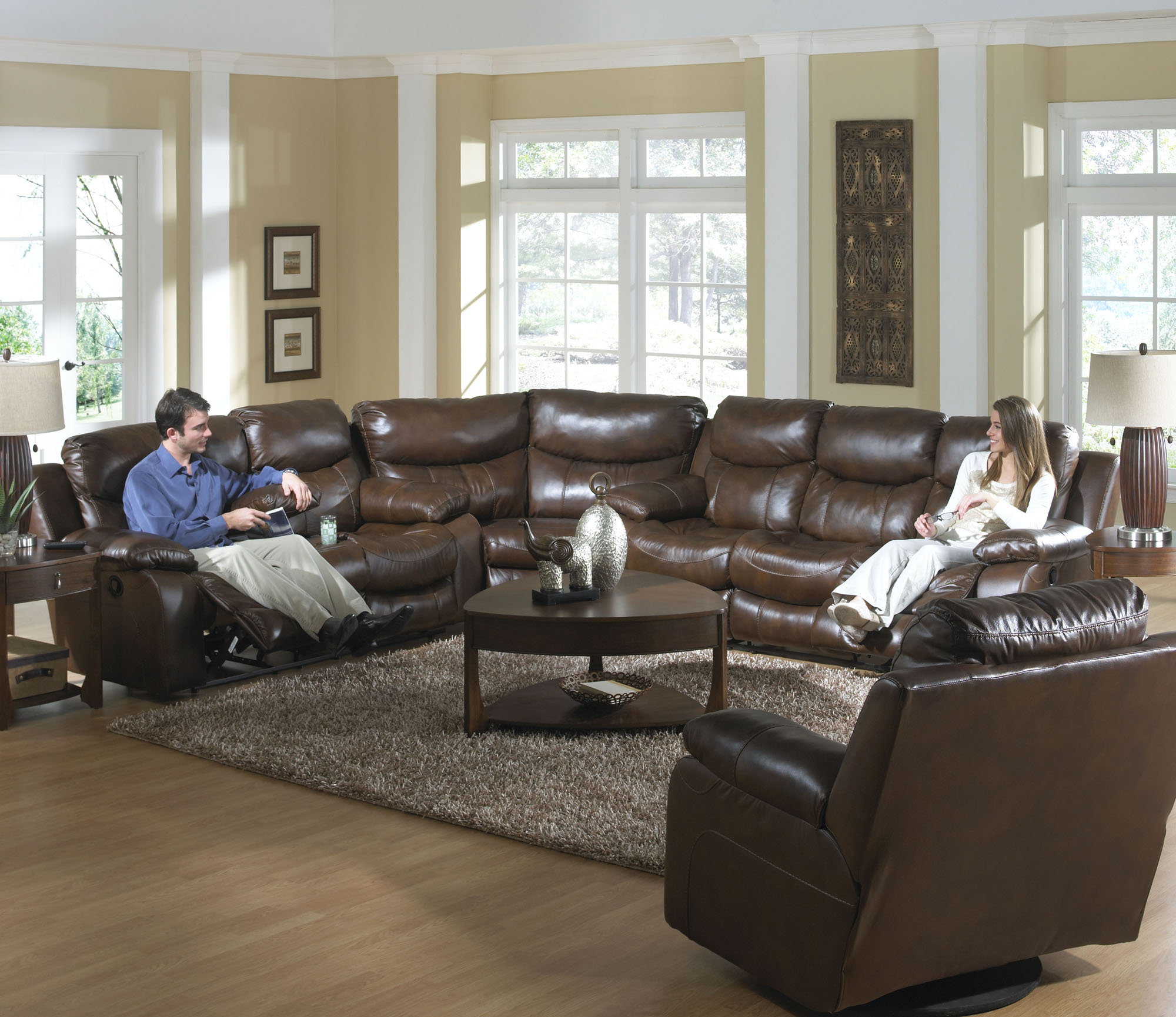 Catnapper Dallas Recline Tobacco Leather Sofa Sectional Set 4951 4959 4958
