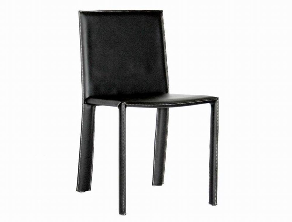 contemporary black leather dining chair set of 2 alc