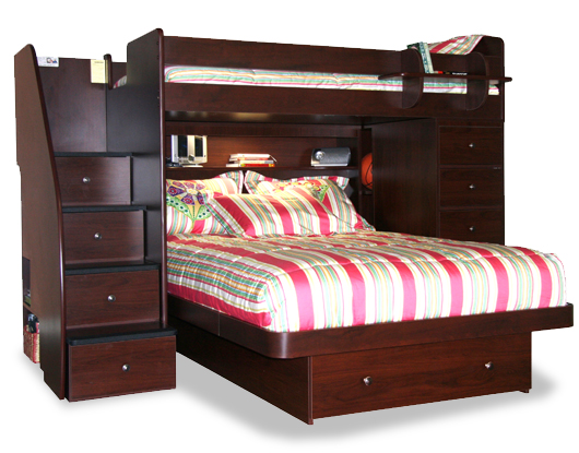 Bed Over Stair Box Google Search: Berg Twin Over Full Space Saver Bunk Bed With Chest And