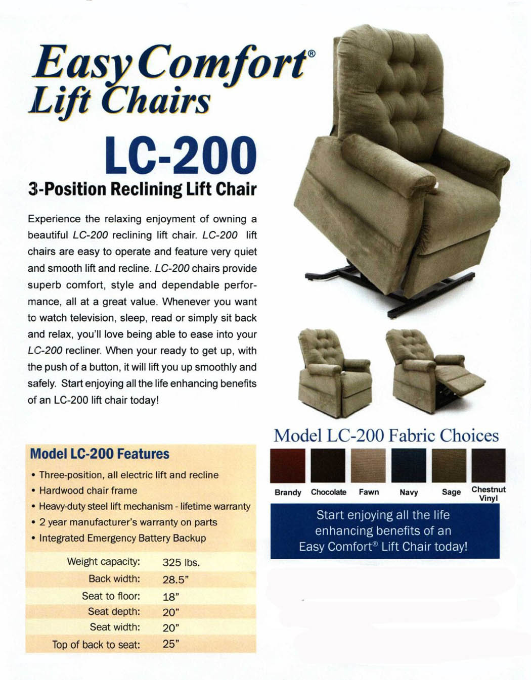 Home Easy Comfort Lift Chair Recliner Lc 200 3 Position Rising Electric Power Chaise Lounger