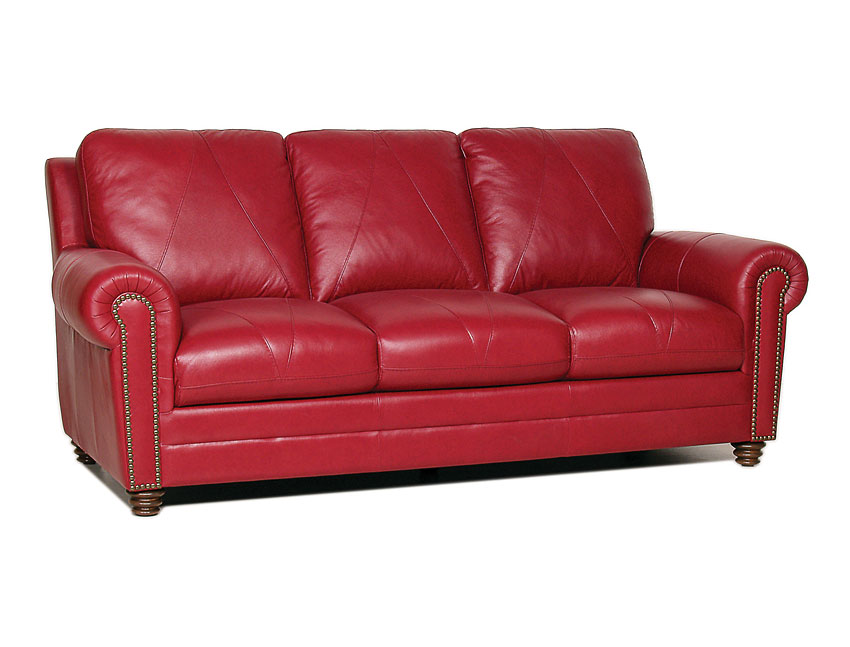 Leather weston italian leather sofa cherry red sofas amp sectionals