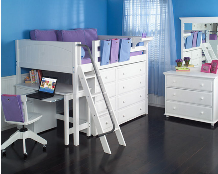 Maxtrix kids kong full size mid loft bed with desk angled Full size loft beds with desk