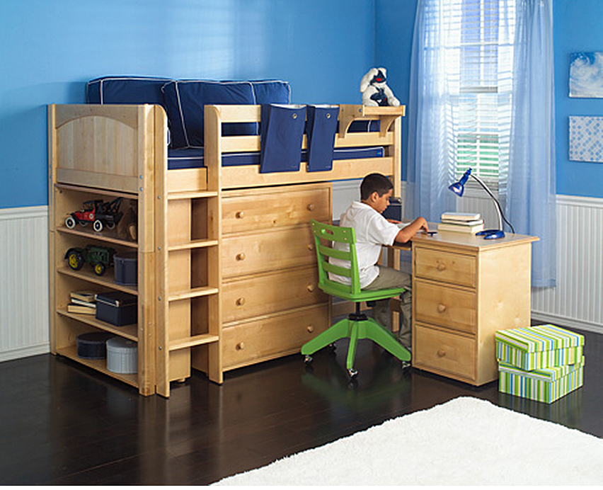 Twin Mid Loft Study and Storage Bed with Desk (CHIP+2410L+4240+4740 852 x 692