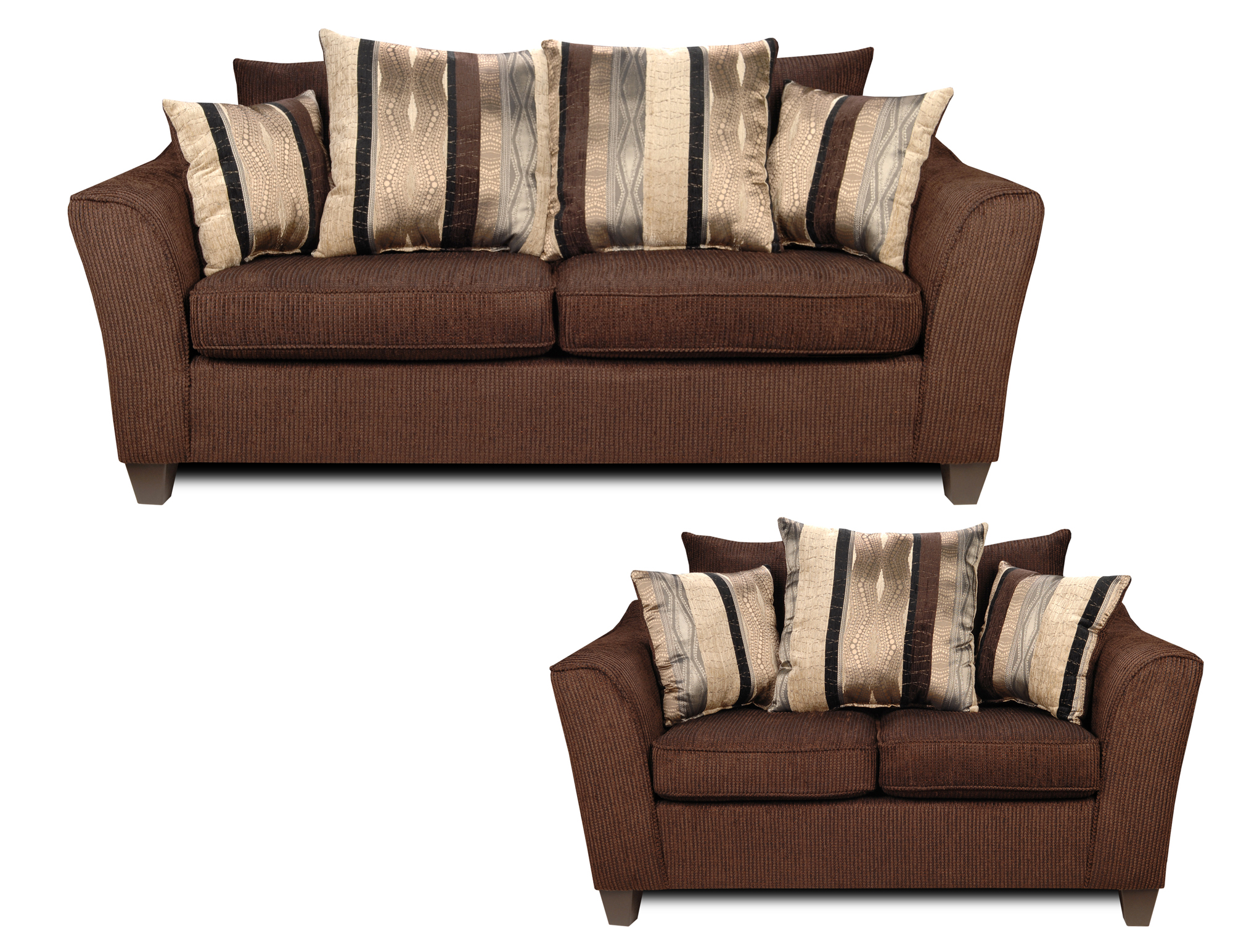 Lizzy Sofa And Love Seat With Romance Brown Fabric 6950 S L By Liberty Upholstery Sofas