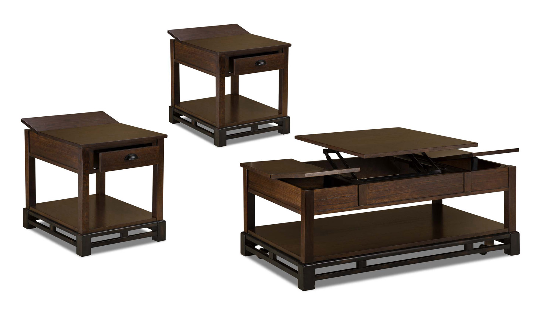 Catnapper lift top storage coffee table and 2 end tables 870 049 055x2 tables consoles Lift top coffee tables storage