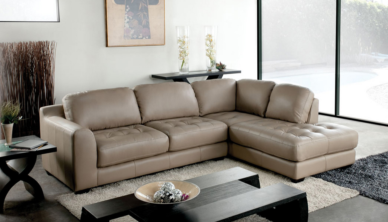 Diamond sofa zen taupe leather chaise sectional sofa for Zen sectional sofa