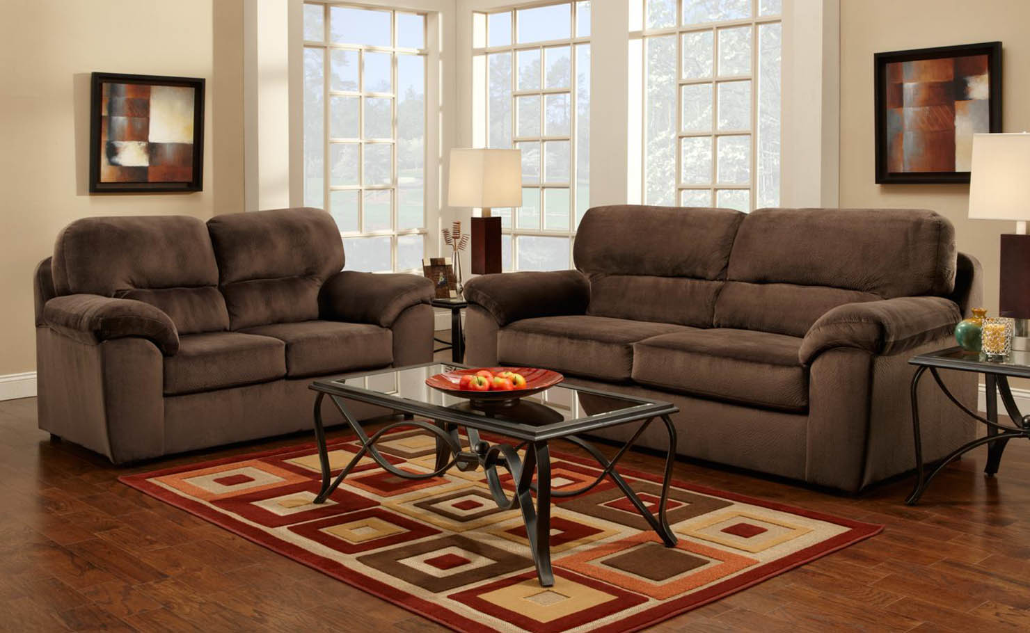 Chelsea Home Baltimore Fabric Sofa And Loveseat Set In Chocolate Brown 194800 S L Sofas