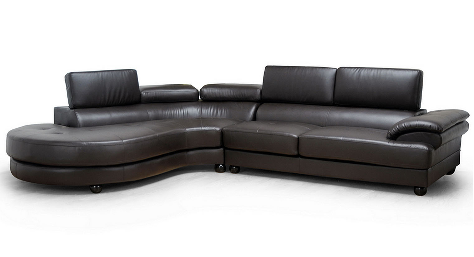Adelaide dark brown leather sectional sofa with chaise by for Brown leather sectional sofa with chaise