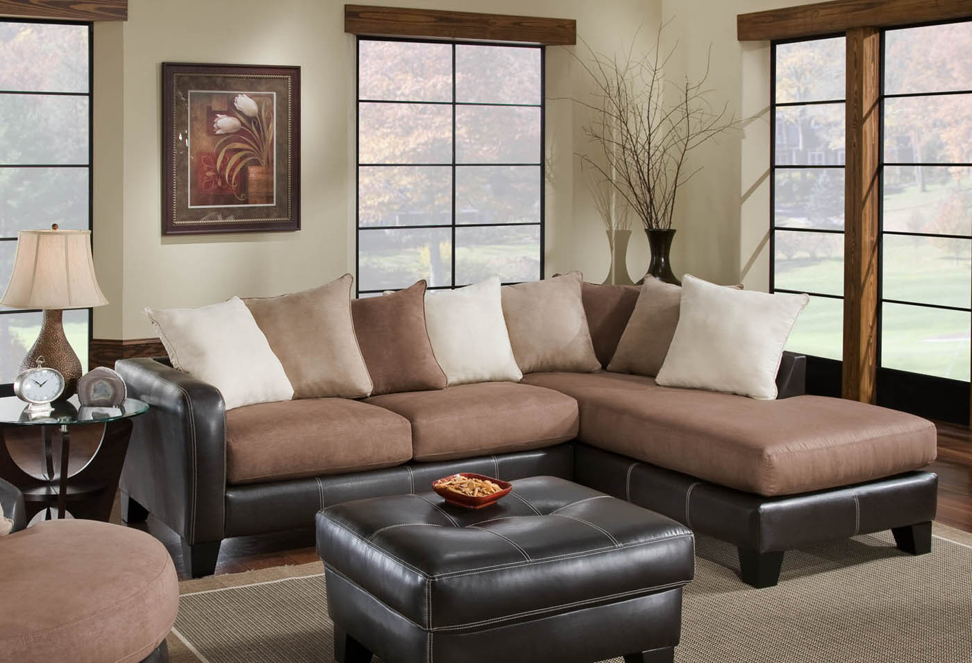 Chelsea home burke 2 pc sectional sofa with chaise right for Sectional sofa with right side chaise