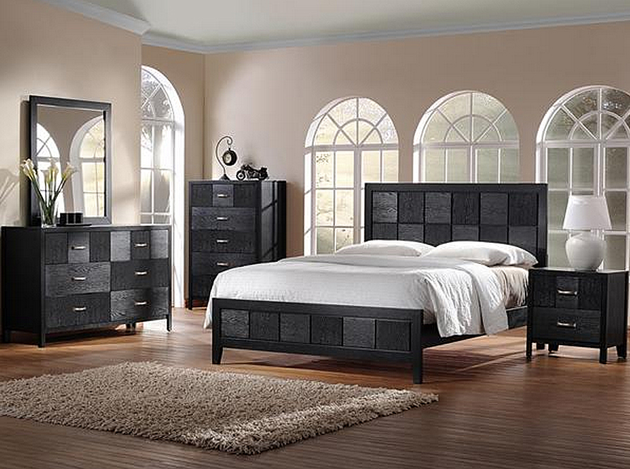 Baxton studio montserrat black wood 5 piece queen size for Modern queen bedroom sets