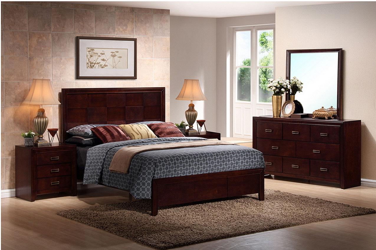 Trowbridge cherry 5 piece modern bedroom set in queen size for Bedroom 5 piece sets